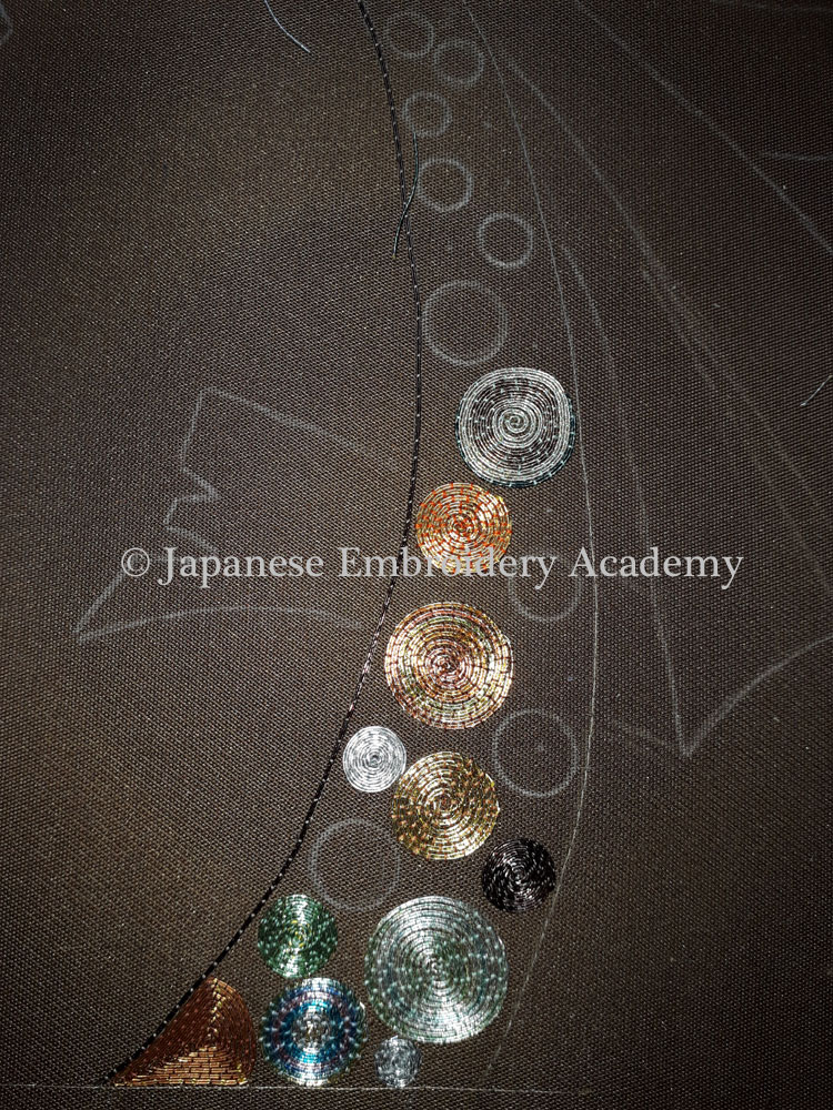 Japanese embroidery - inward spiralling circles