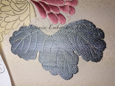 Japanese embroidery, leaf, twisted silk